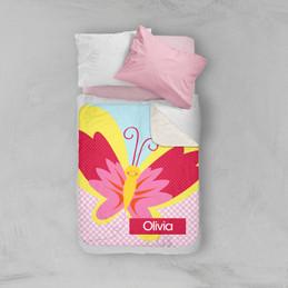 Smiley Butterfly Sherpa Blanket