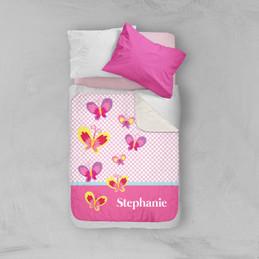 Sweet Smiley Butterflies Sherpa Blanket