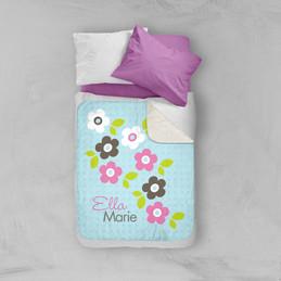 Preppy Flowers Blue Sherpa Blanket