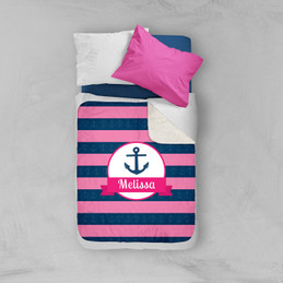 Let's Sail Pink Sherpa Blanket