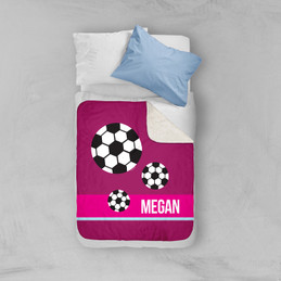 Girl Soccer Fan Purple Sherpa Blanket
