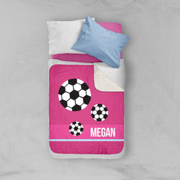Girl Soccer Fan Pink Sherpa Blanket