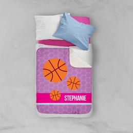 Girl Basketball Fan Purple Sherpa Blanket