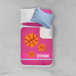 Girl Basketball Fan Pink Sherpa Blanket