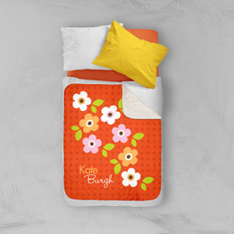 Preppy Flowers Orange Sherpa Blanket