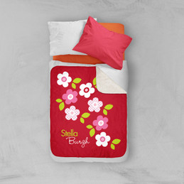Preppy Flowers Red Sherpa Blanket