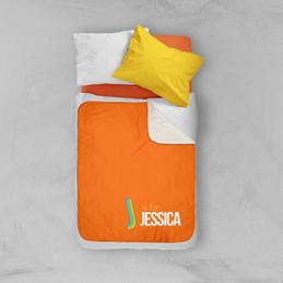 Double Initial Orange Sherpa Blanket