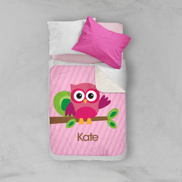 Pink Owl Be Yours Sherpa Blanket
