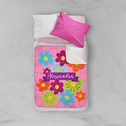 Shiny Bold Flowers Sherpa Blanket