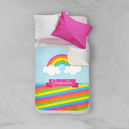 A Rainbow In The Sky Sherpa Blanket