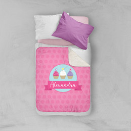 Three Sweet Cupcakes Sherpa Blanket