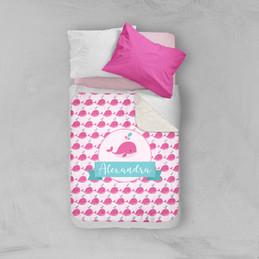 Sweet Pink Whale Sherpa Blanket