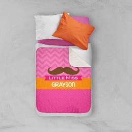 Little Miss Mustach Sherpa Blanket