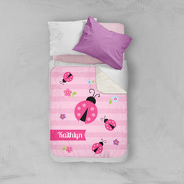 Sweet Pink Lady Bug Sherpa Blanket