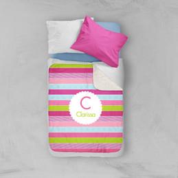 Pastel Stripes Sherpa Blanket