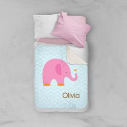 Sweet Pink Elephant Sherpa Blanket