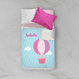 Pink Hot Air Balloon Sherpa Blanket