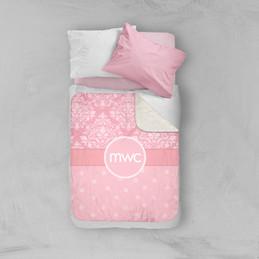Pink Sweet Damask Sherpa Blanket