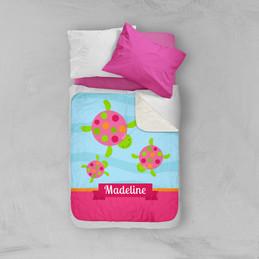 Swimming Pink Turtles Sherpa Blanket