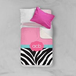 Zebra and pink Sherpa Blanket