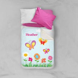 A Butterfly Field Sherpa Blanket