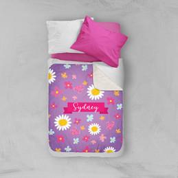 Field Of Flowers Purple Sherpa Blanket