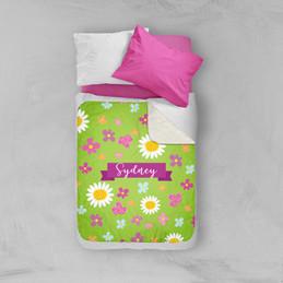 Field Of Flowers Green Sherpa Blanket