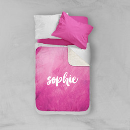 Bold Colorful Name Pink Sherpa Blanket