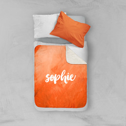 Bold Colorful Name Orange Sherpa Blanket