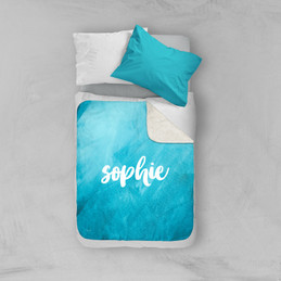 Bold Colorful Name Aqua Sherpa Blanket