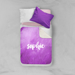Bold Colorful Name Purple Sherpa Blanket