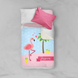 Sweet Flamingo Love Sherpa Blanket