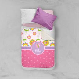Pink Flowers Pattern Sherpa Blanket