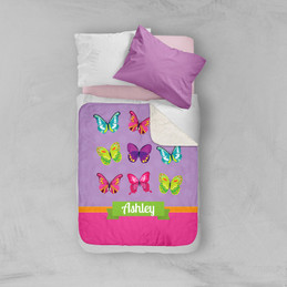 Bright Butterflies Sherpa Blanket