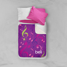 Girly Music Notes Sherpa Blanket