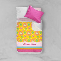 Flower Initial Sherpa Blanket