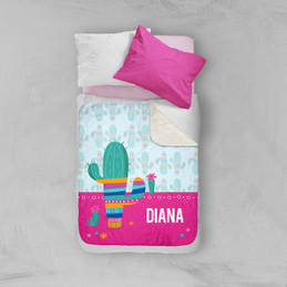 Colorful Cactus Sherpa Blanket