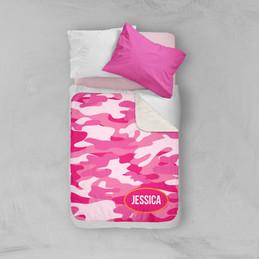 Pink & Orange Camouflage Sherpa Blanket
