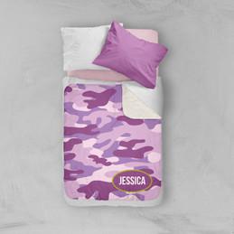 Purple & Green Camouflage Sherpa Blanket