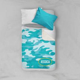 Aqua & Yellow Camouflage Sherpa Blanket