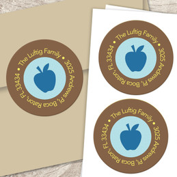 Blue Apples greetings label