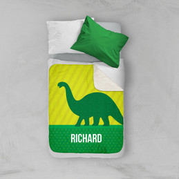 Dino and Me - Green Sherpa Blanket