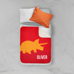 Dino and Me - Red Sherpa Blanket