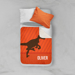 Dino and Me - Orange Sherpa Blanket