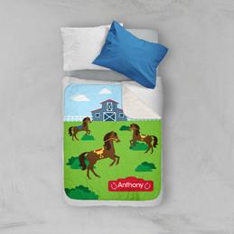 Cute Race Horse Sherpa Blanket