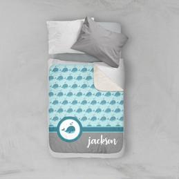 Sweet Little Blue Whale Sherpa Blanket