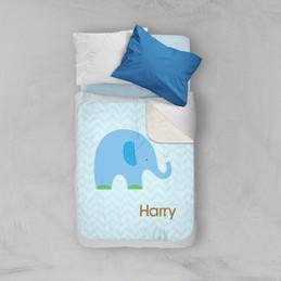 Blue Baby Elephant Sherpa Blanket