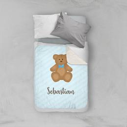 Cute Blue Teddy Bear Sherpa Blanket