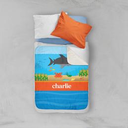 Shark Waves Sherpa Blanket