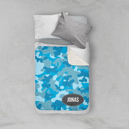 Blue Camouflage Sherpa Blanket